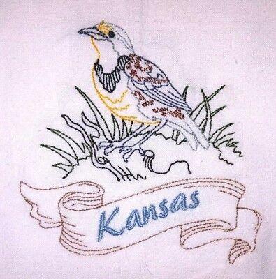 State Bird Kansas Western Meadowlark Machine Embroidered Flour Sack Dish Towel Ebay