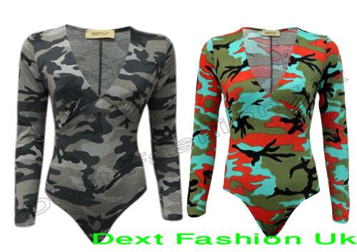 New Girls Celeb Look Ladies Camouflage Ruched V Neck Leotard Top Brand Bodysuit