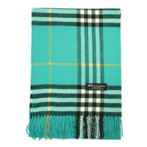Men Women Unisex 100/% CASHMERE Scarf Warm Big Plaid Vintage Wool SCOTLAND Teal