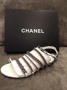 4315d039a0e3bc CHANEL 15S 2015 Tweed Chains Toe Ring Thong Strappy Flat Sandals ...