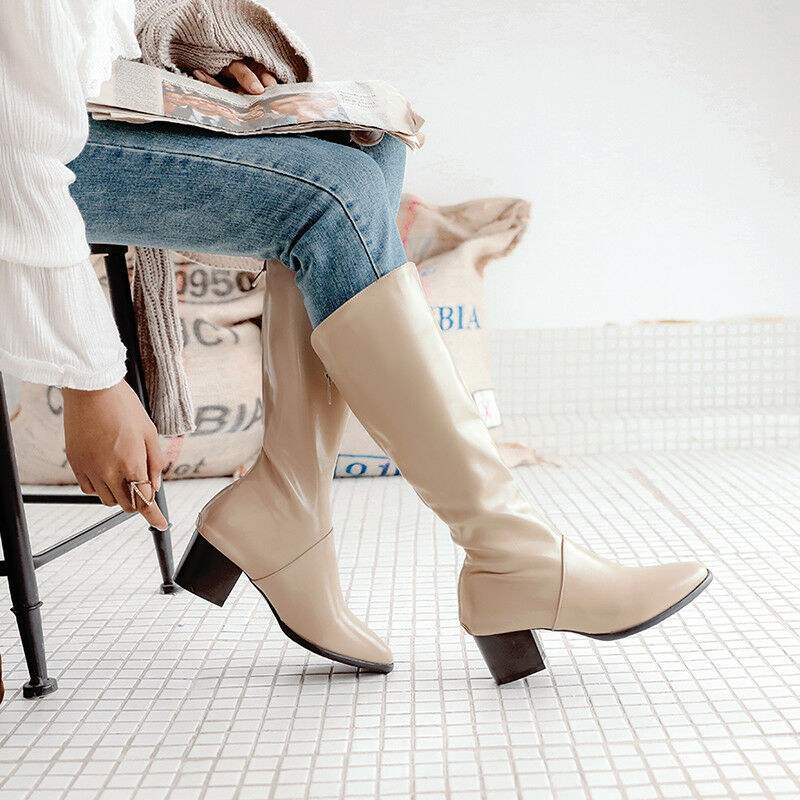 femmes Winter Pure Couleur Round Toe Block Mid Heels Mid Calf Knight bottes US Taille