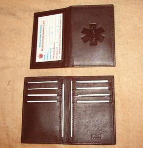 Credit-Card-ID-Leather-Medical-Wallets-w-med-symbol-color-dark-brown