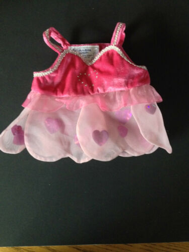 Build a Bear Full Size Teddy Bear Clothing ~ Pink Heart Dress ~  EUC