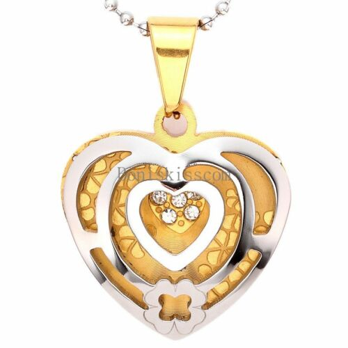 Stainless Steel Hollow Love Heart Shape Pendant Ladies Sweater Necklace w Chain
