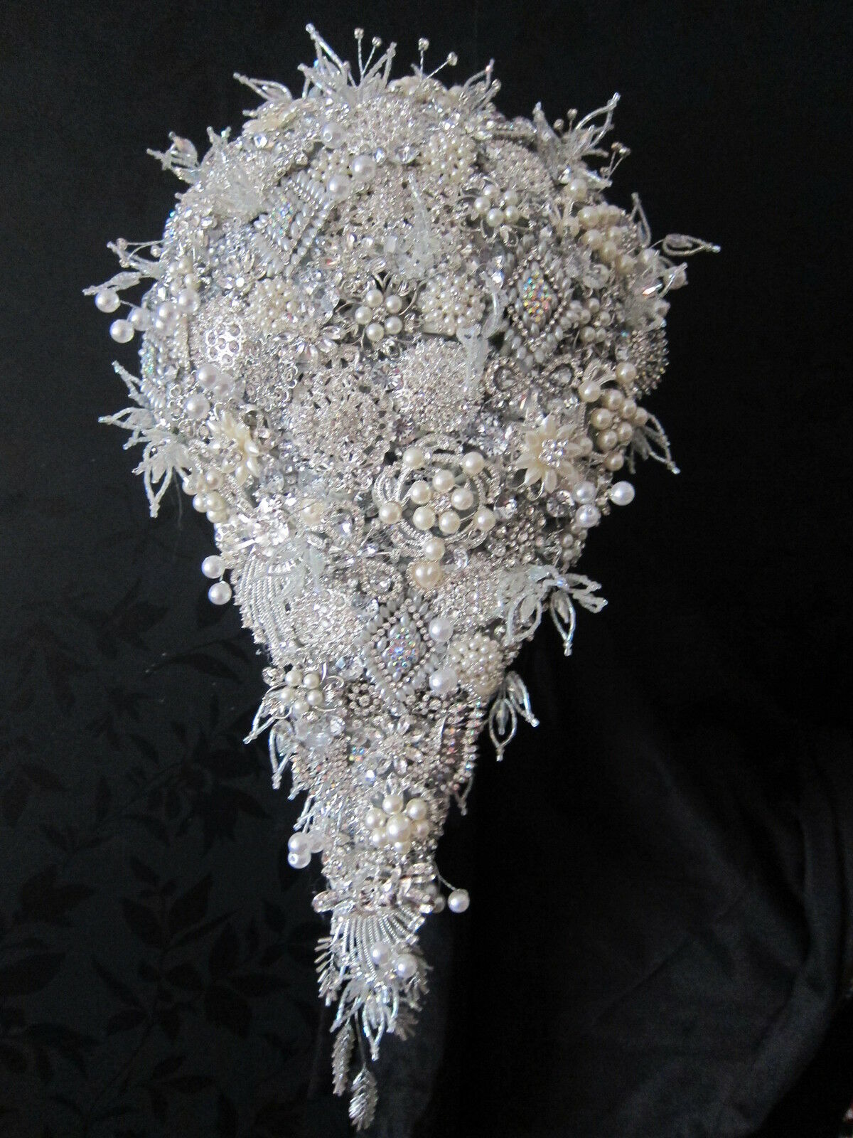 Brides Large Diamante Pearl Brooch Shower Teardrop Bouquet Posy Wedding Flowers
