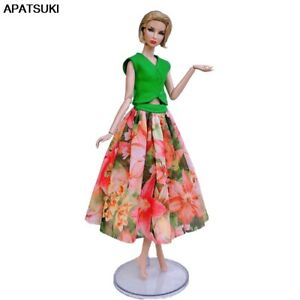 Fashion-Doll-Clothes-For-Barbie-Doll-Outfit-Green-Top-Colorful-Floral-Midi-Skirt