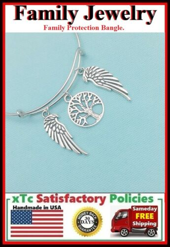 Angels Protect My Family; Tree of Life /& Angel Wings Charms Bangle Bracelet