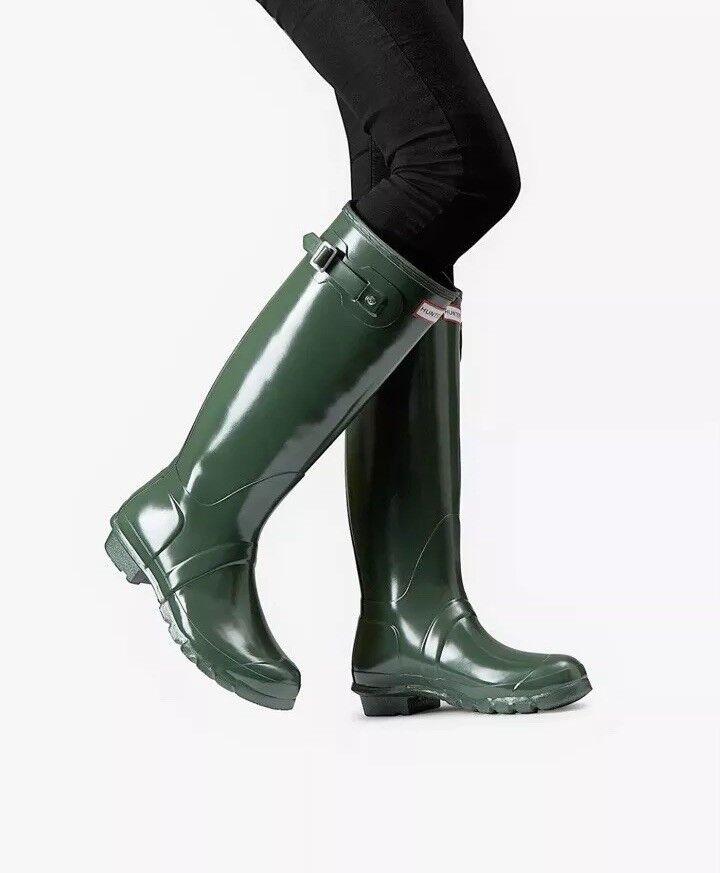 Hunter Women's Original Gloss Hunter Green Green Green Tall Rubber Rain Boot NEW Size 5 6ac3b8