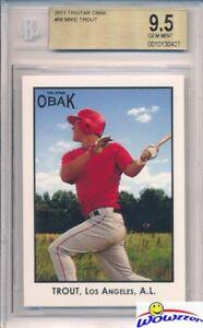 2011 Tristar Obak # 88 Mike Trout ROOKIE BGS 9.5 GEM MINT! LA Angels MVP!
