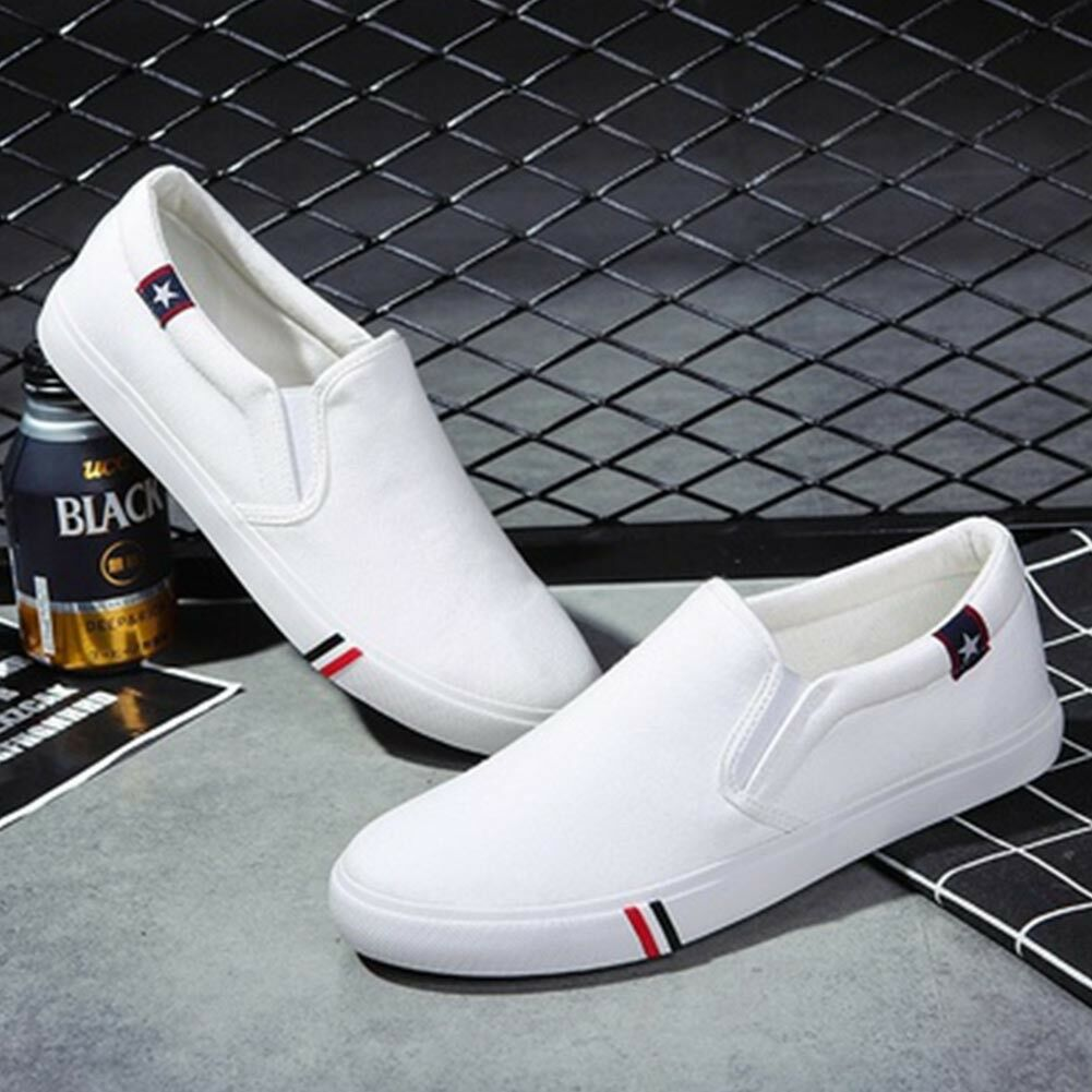 HK- Cool Men No Shoelaces Loafers Leisure Slip on Canvas Shoes Casual Sneakers C