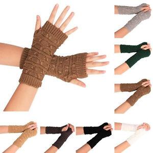 Fashion-Women-Men-039-s-Knitted-Arm-Fingerless-Winter-Gloves-Unisex-Soft-Warm-Mitten