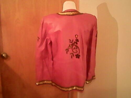 Exotic sequins marque Creations perles femme en rouge Veste pour pression boutons cuir de doublée TBavq0