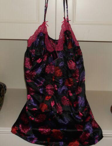 Bnwt La Senza 10 12 14 16 18 Black Satin /& Pink Lace Floral Chemise