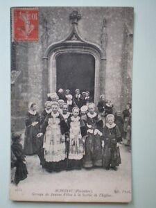 SCRIGNAC-FINISTERE-GROUPE-DE-JEUNES-FILLES-POSTAL-ANTIGUA-ANO-1916