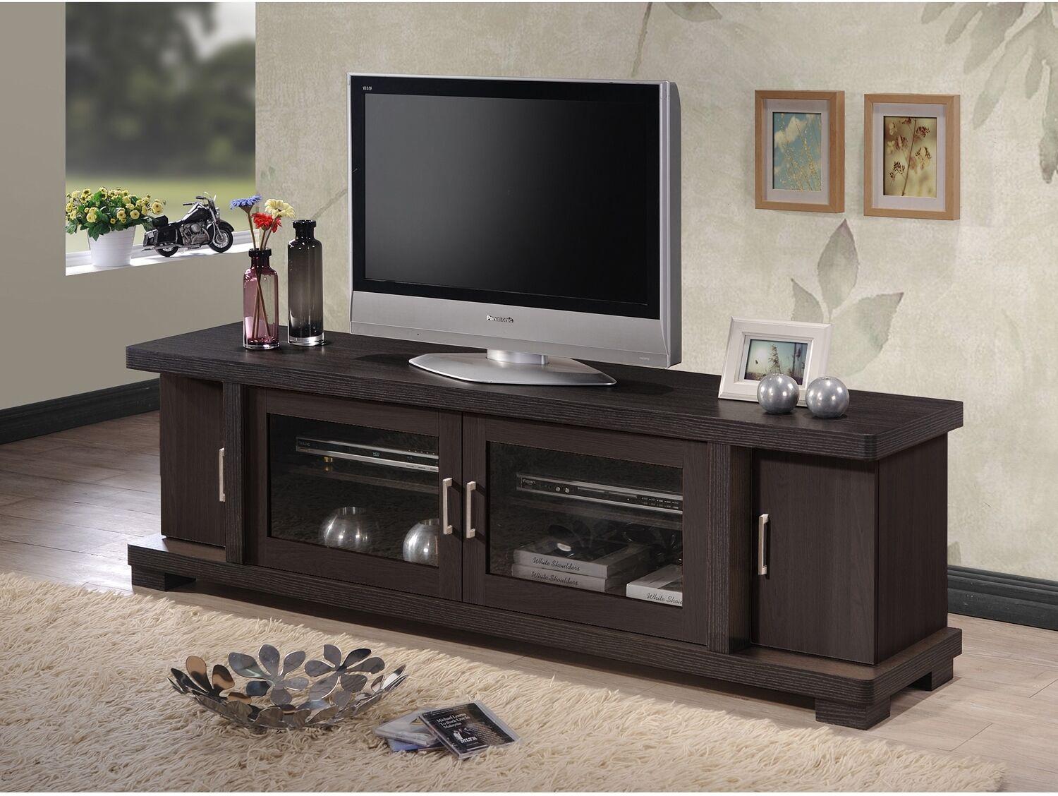 wood tv console 70 inch stand contemporary entertainment center cabinet storage ebay. Black Bedroom Furniture Sets. Home Design Ideas