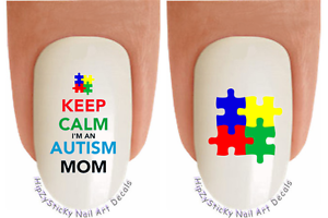 Image Is Loading Nail Art 6514 034 Keep Calm Autism Mom