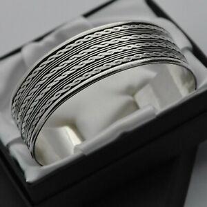 Heavy-amp-Wide-Vintage-Rope-Design-Cuff-Bracelet-in-Solid-925-Sterling-Silver