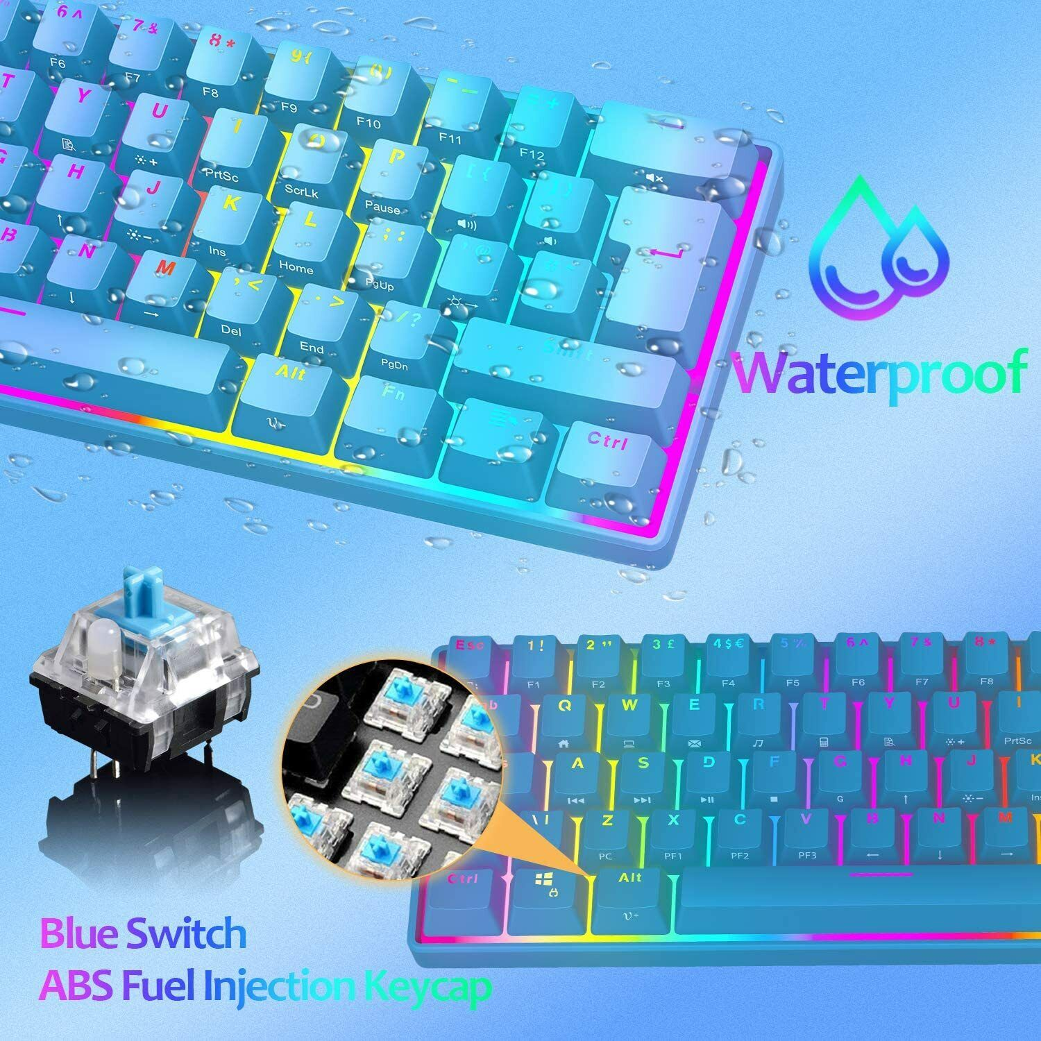 UK Layout 60% True Mechanical Gaming Keyboard Type-C Wired RGB Backlit For PS4