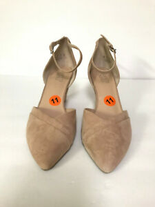 Franco-Sarto-Faye-Women-039-s-Nude-Pink-Ankle-Strap-Wedge-Shoes-Size-11M-NWOB