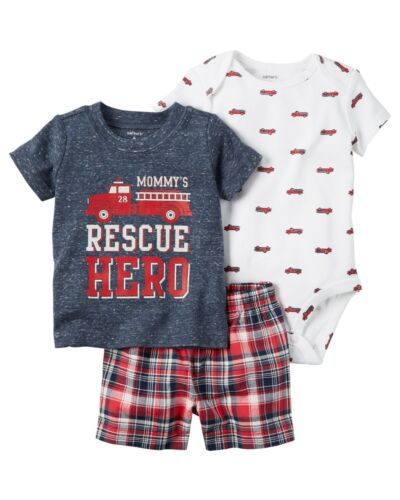 New Carter/'s 3 Piece Summer Red Fire Truck Top Bodysuit Short Set NWT 18 24 Boys