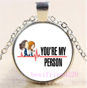 You are my person Cabochon Glass Silver//Black//Bronze Chain Pendant Necklace#DN36