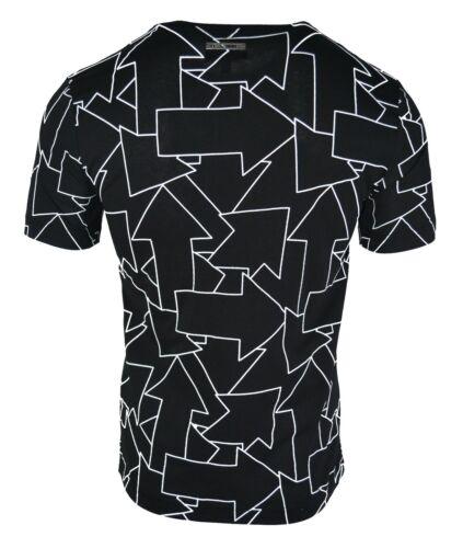 LES HOMMES ARROW PRINT T-SHIRT BLACK /& WHITE METAL LOGO PLAQUE