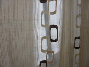 Gardine, Schals , braun/beige gemuster, 239 cm hoch, Breite 150 cm