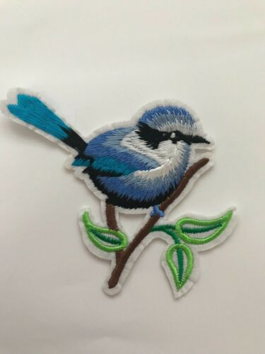 Blue Bird on a Branch Iron on Applique patch
