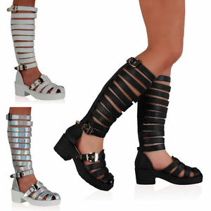 9e50a0a6dde NEW WOMENS LADIES STRAPPY KNEE HIGH LEG GLADIATOR SANDALS SHOES SIZE ...