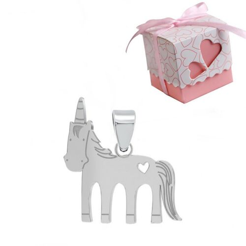 925 Plata Esterlina Aretes Unicornio Rosa Niñas Niños-Regalo en Caja