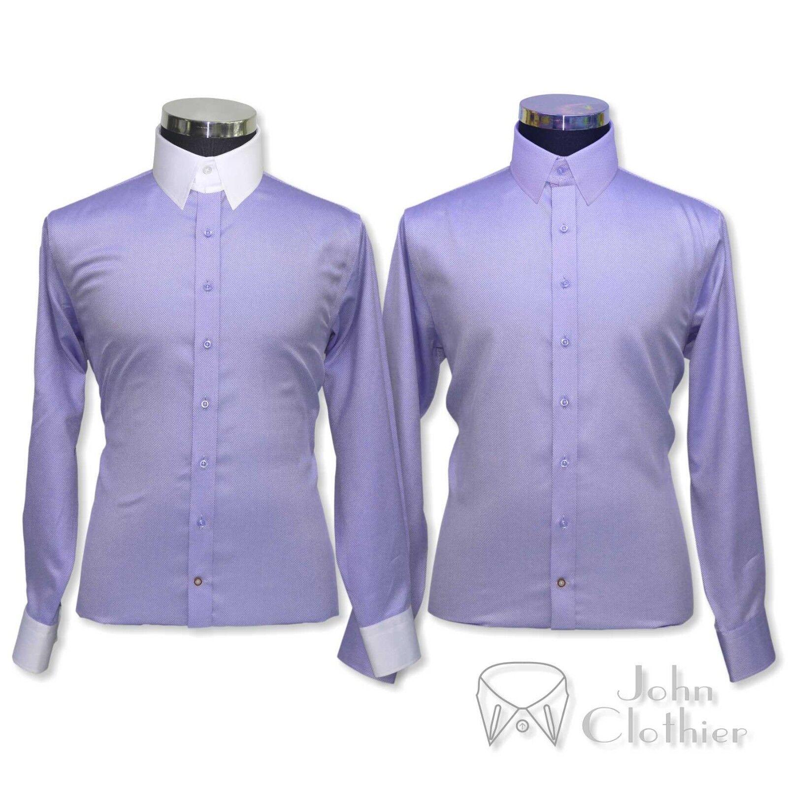 James Bond collar Bankers shirt Men Lilac Diamond Loop collar Gents Tab Cotton