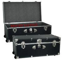 Wheeled Storage Trunk Footlocker Store Clothes Linens Box Key Lock Wheels