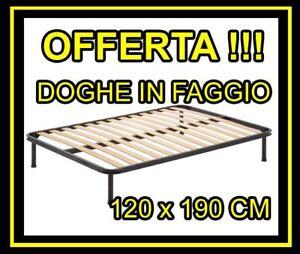 Rete in ferro a Doghe di Legno Ortopedica Una Piazza e Mezzo 120x190 ...