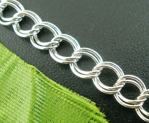 4M-Silver-Tone-HOTSELL-Double-Loops-Chains-Findings-4x5mm