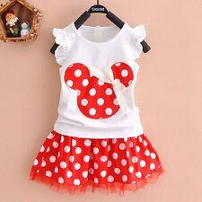 Toddler Kids Baby Girl Minnie Mouse Outfit Clothes T-shirt Tops + Skirt Dress US