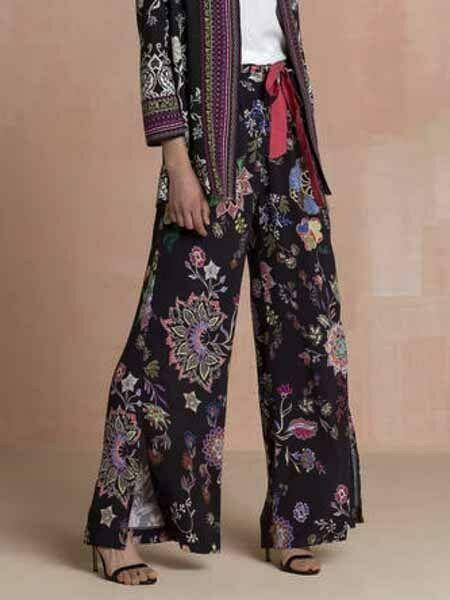 Initiative Ivko Pantalon Marlene Noir Fleuri Fleurs Fente Jambe Large Pantalon Noir Pour Assurer Une Transmission En Douceur