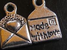 20 Stück LABEL Anhänger Schild HANDMADE ♥ MADE WITH LOVE♥ 1 cm / 10 mm