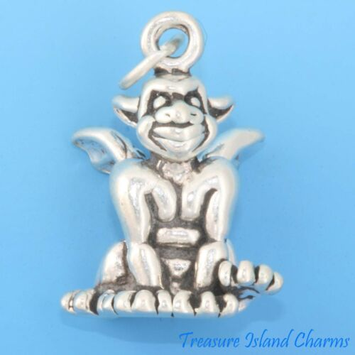 Smiling Gargoyle Gothic Grotesque Creature 3D .925 Solid Sterling Silver Charm