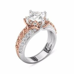 Cut Diamond Lotus Flower Engagement Ring Rose Gold Wedding Party