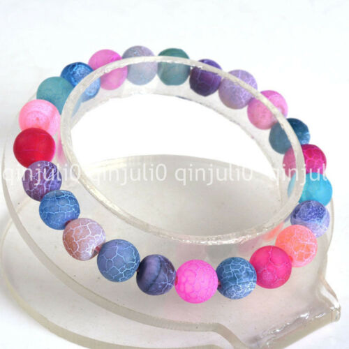 """Natural 10mm Multicolor Frosted Dragon Veins Agate Round Stretchy Bracelet 7.5/"""""""