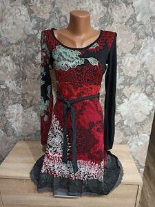 Desigual-Donna-Abito-Taglia-S-nero-amp-rosso-Multi-Color
