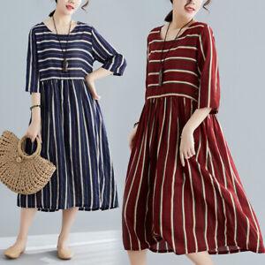 bc30026fceee9 Summer Retro Womens Cotton Linen Striped Loose A Line Casual Maxi ...