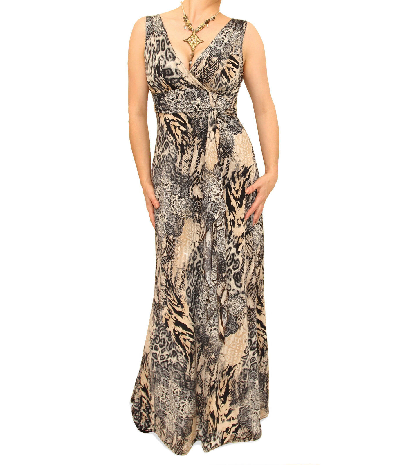 New Animal Print Full Length Maxi Dress