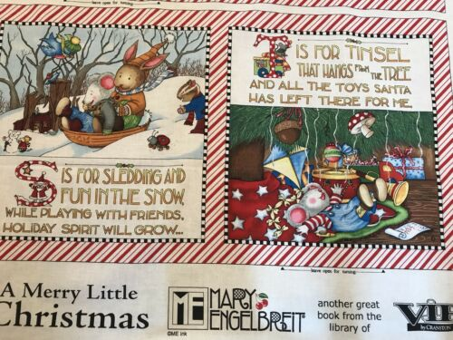 A Merry Little Christmas Book Panel Fabric Cotton Large Craft Quilting