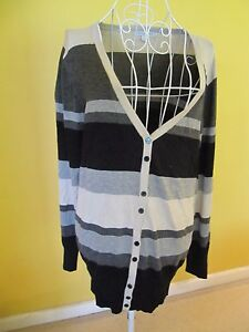 NEW-Queenspark-Women-039-s-Cardigan-Size-Large-14-Long-Sleeve-Black-White-Grey-Strip