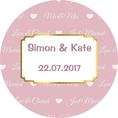 Bello Qualità Gloss Personalizzato Matrimonio Favore Etichette, Adesivi Di Ringraziamento Rosa E Oro- Crease-Resistenza