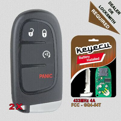 GQ4-54T 2 Smart Key fits 2014-2019 Jeep Cherokee Keyless Entry Remote Start Fob 2015 2016 2017 2018