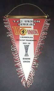 * Rar * Fanion 27 x 20 cm 1.fc Union Berlin UEFA CUP 2001/02 Football Championnat