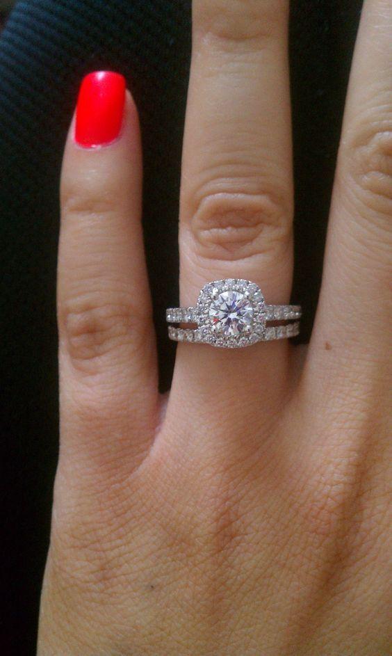 Certified 1.25ct Near White Moissanite Halo Engagement Ring Set 14k White gold