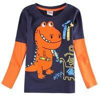 Boys Dinosaur Top T Shirt Mock Orange Long Sleeve Kids Clothes Age 18 24 2 3 4 5